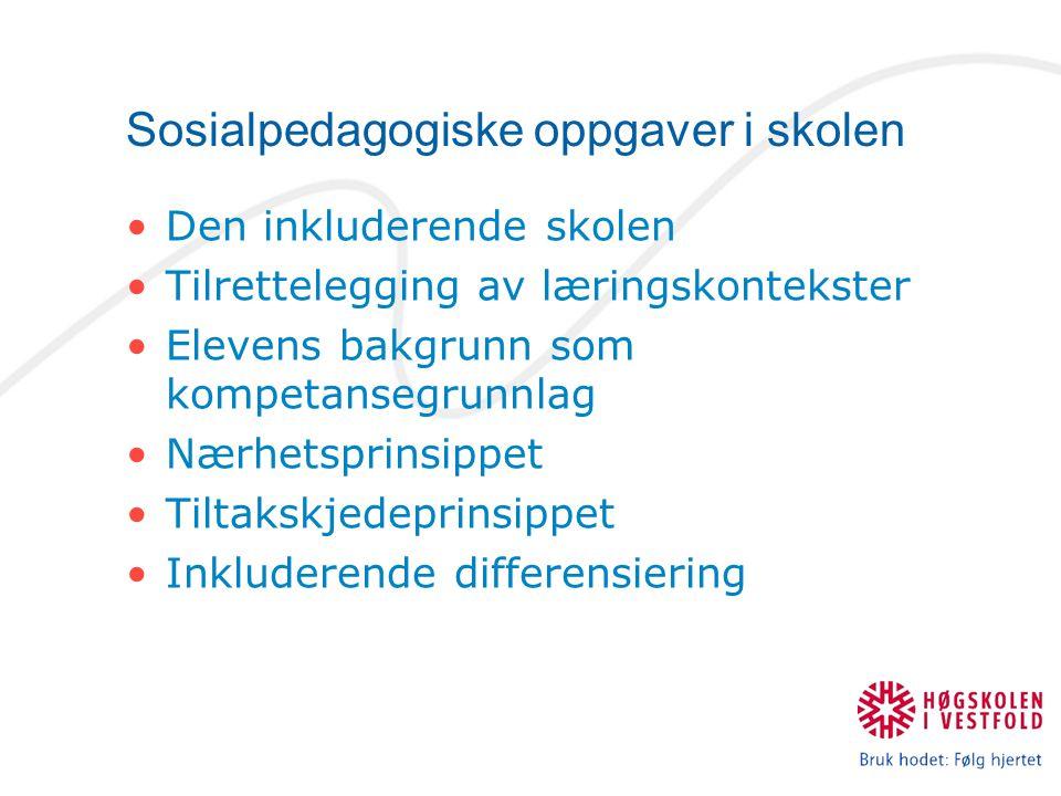 Sosialpedagogiske oppgaver i skolen Den inkluderende skolen Tilrettelegging av læringskontekster Elevens bakgrunn som kompetansegrunnlag Nærhetsprinsi