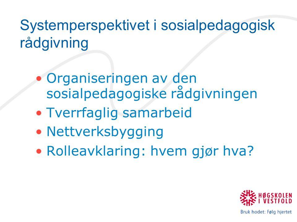 Systemperspektivet i sosialpedagogisk rådgivning Organiseringen av den sosialpedagogiske rådgivningen Tverrfaglig samarbeid Nettverksbygging Rolleavklaring: hvem gjør hva?