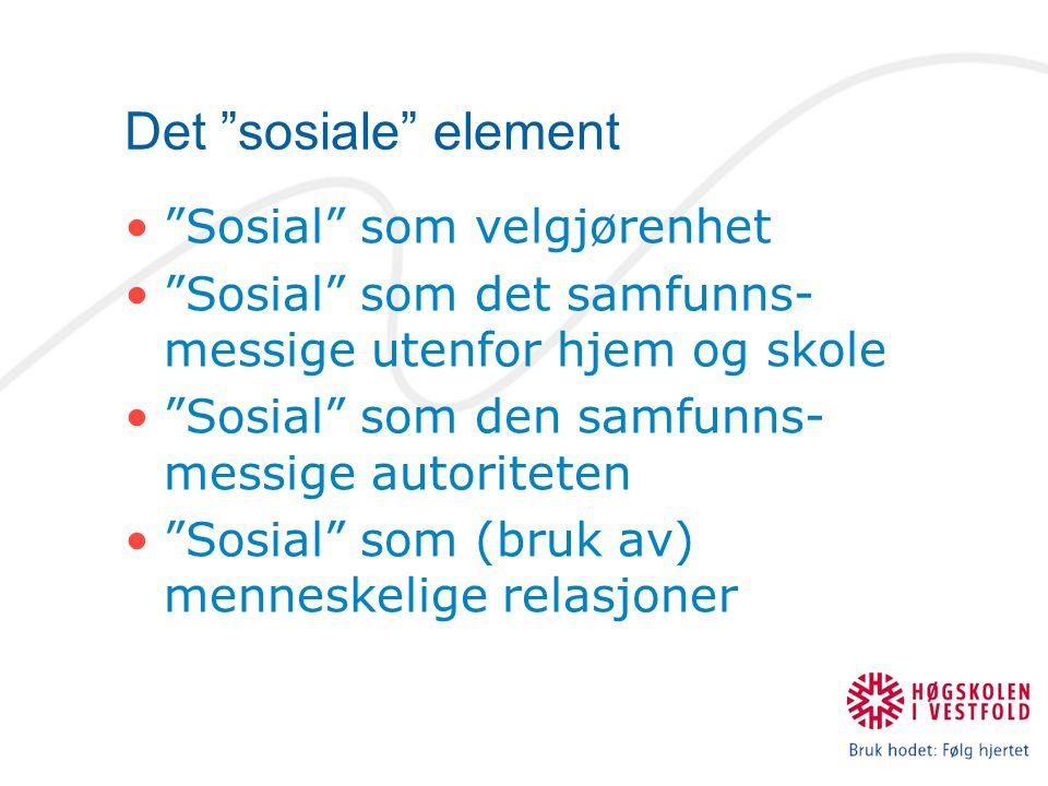 Det sosiale element Sosial som velgjørenhet Sosial som det samfunns- messige utenfor hjem og skole Sosial som den samfunns- messige autoriteten Sosial som (bruk av) menneskelige relasjoner