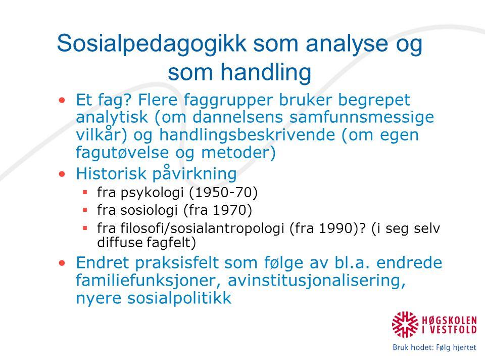 Sosialpedagogikk som analyse og som handling Et fag? Flere faggrupper bruker begrepet analytisk (om dannelsens samfunnsmessige vilkår) og handlingsbes