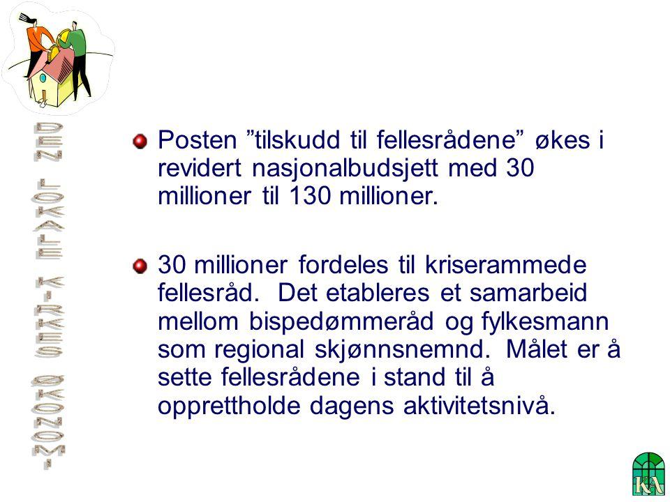 Posten tilskudd til fellesrådene økes i revidert nasjonalbudsjett med 30 millioner til 130 millioner.