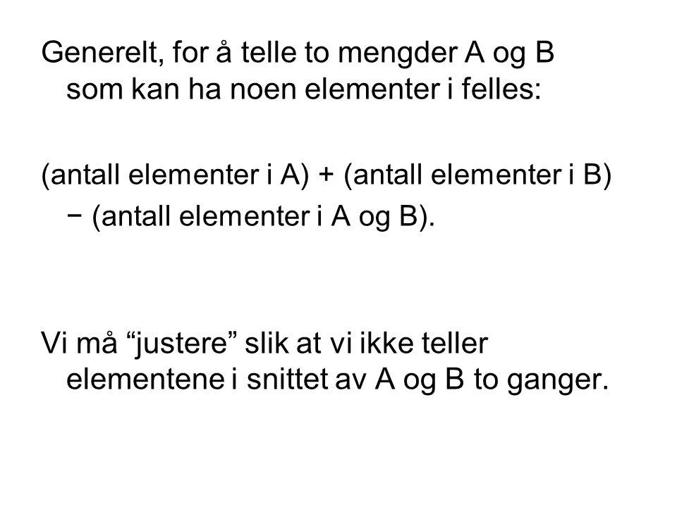 Generelt, for å telle to mengder A og B som kan ha noen elementer i felles: (antall elementer i A) + (antall elementer i B) − (antall elementer i A og
