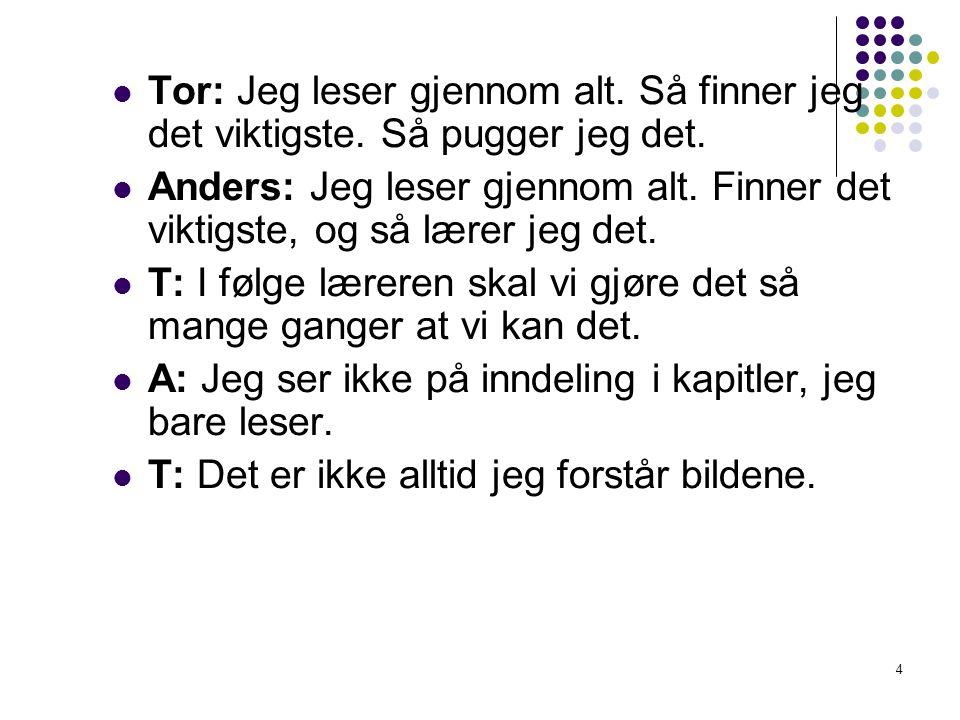 4 Tor: Jeg leser gjennom alt. Så finner jeg det viktigste. Så pugger jeg det. Anders: Jeg leser gjennom alt. Finner det viktigste, og så lærer jeg det