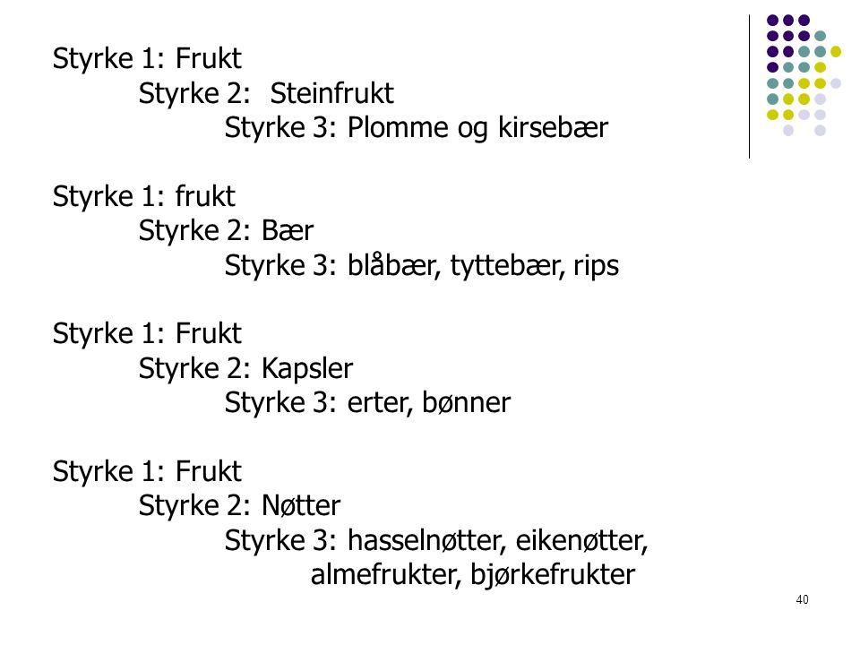 40 Styrke 1: Frukt Styrke 2: Steinfrukt Styrke 3: Plomme og kirsebær Styrke 1: frukt Styrke 2: Bær Styrke 3: blåbær, tyttebær, rips Styrke 1: Frukt Styrke 2: Kapsler Styrke 3: erter, bønner Styrke 1: Frukt Styrke 2: Nøtter Styrke 3: hasselnøtter, eikenøtter, almefrukter, bjørkefrukter