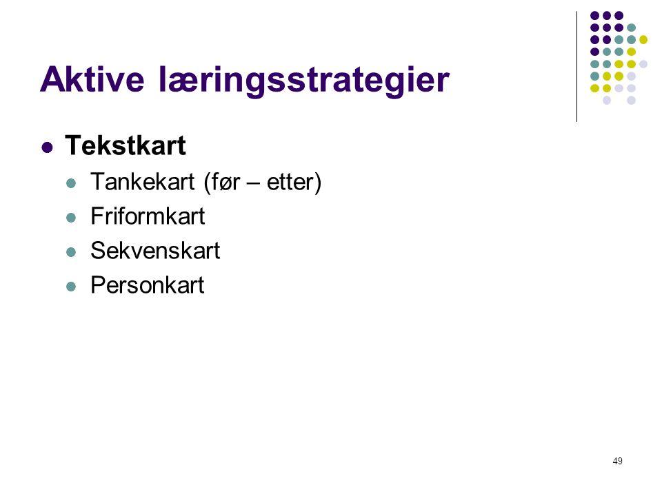 49 Aktive læringsstrategier Tekstkart Tankekart (før – etter) Friformkart Sekvenskart Personkart