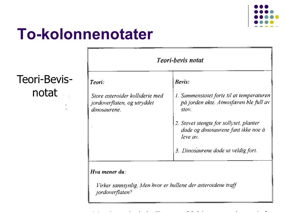 59 To-kolonnenotater Teori-Bevis- notat