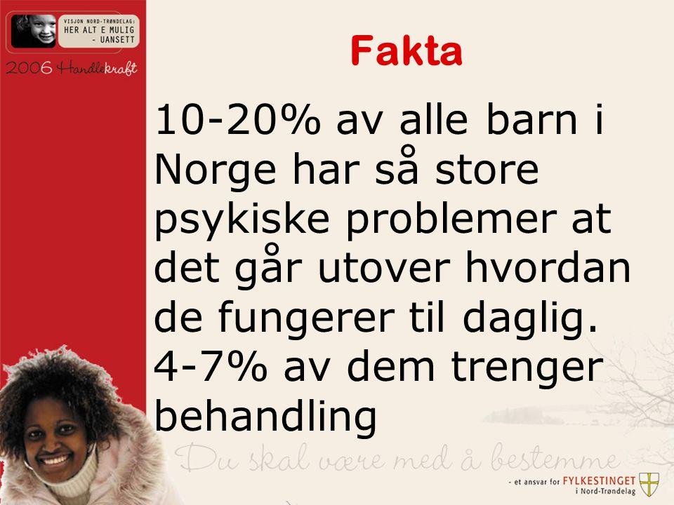 Fakta 10-20% av alle barn i Norge har så store psykiske problemer at det går utover hvordan de fungerer til daglig.