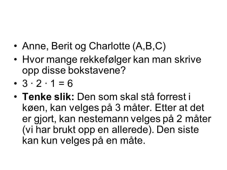 Anne, Berit og Charlotte (A,B,C) Hvor mange rekkefølger kan man skrive opp disse bokstavene? 3 · 2 · 1 = 6 Tenke slik: Den som skal stå forrest i køen