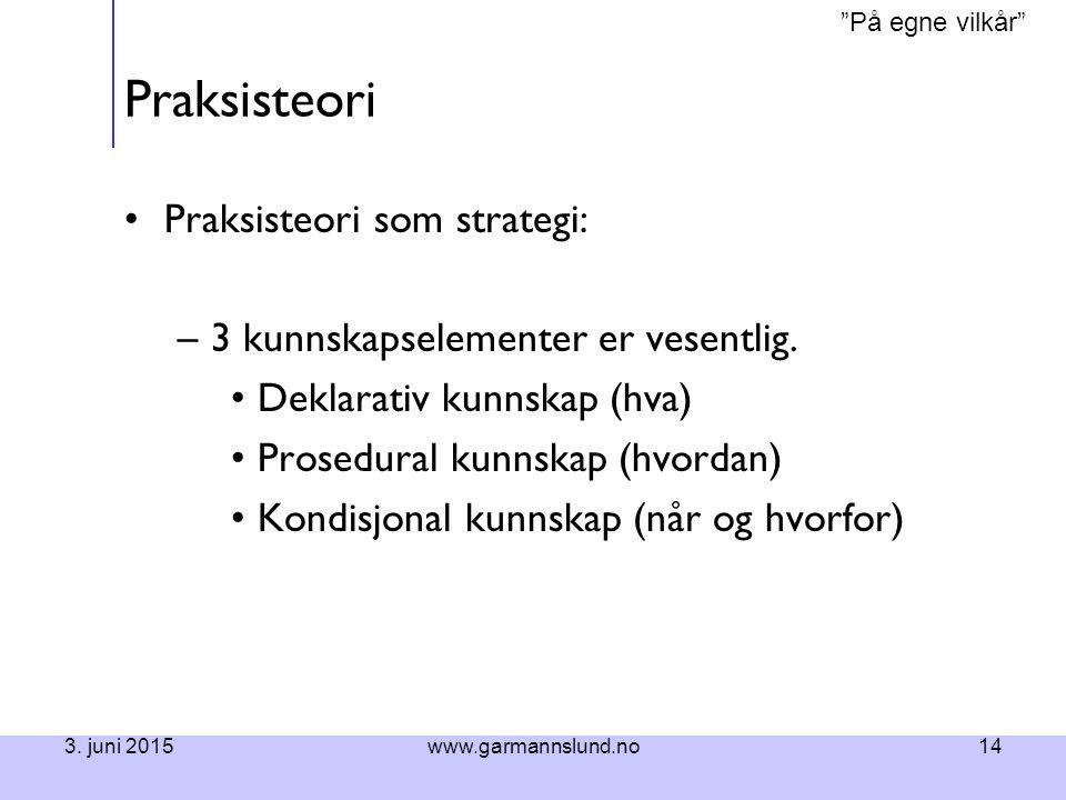 """""""På egne vilkår"""" 3. juni 2015www.garmannslund.no14 Praksisteori Praksisteori som strategi: –3 kunnskapselementer er vesentlig. Deklarativ kunnskap (hv"""