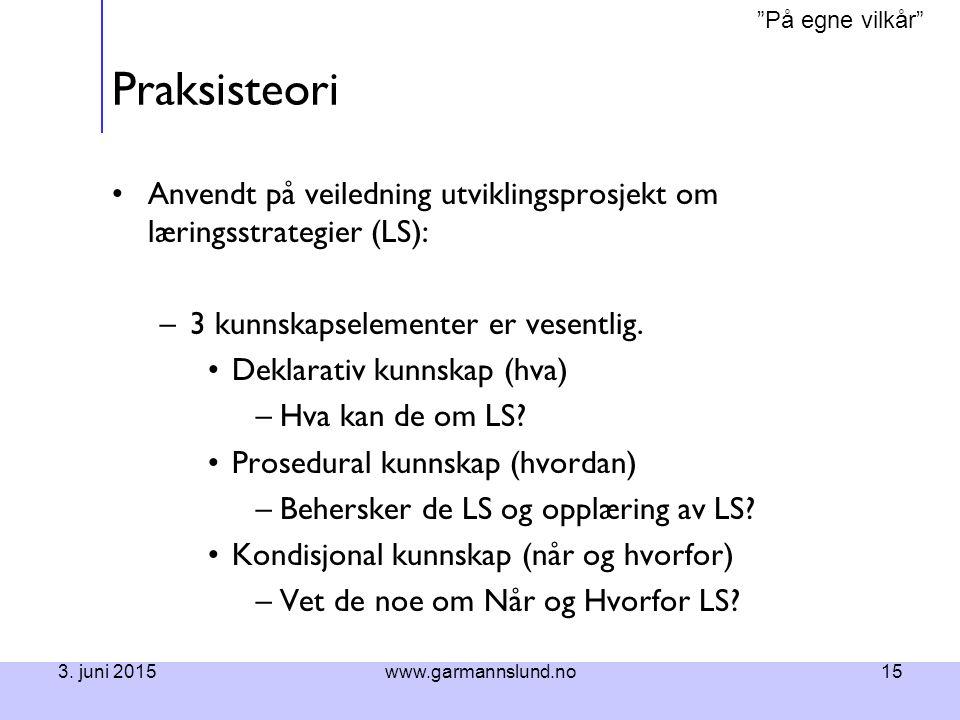"""""""På egne vilkår"""" 3. juni 2015www.garmannslund.no15 Praksisteori Anvendt på veiledning utviklingsprosjekt om læringsstrategier (LS): –3 kunnskapselemen"""