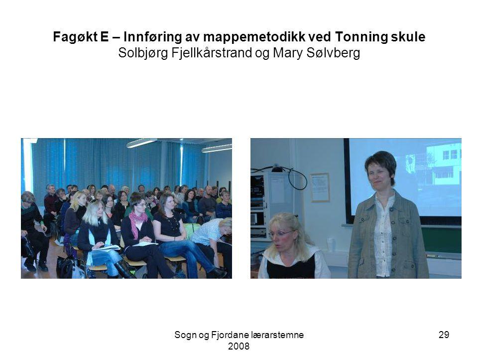 Sogn og Fjordane lærarstemne 2008 28 Fagøkt D – Elevperspektiv på vurdering Margrethe Haug Syversen, HSF Fem lærarar frå Øyrane, Flora og Hopen vidare