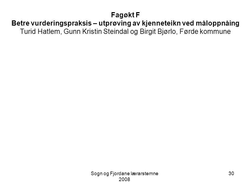 Sogn og Fjordane lærarstemne 2008 29 Fagøkt E – Innføring av mappemetodikk ved Tonning skule Solbjørg Fjellkårstrand og Mary Sølvberg