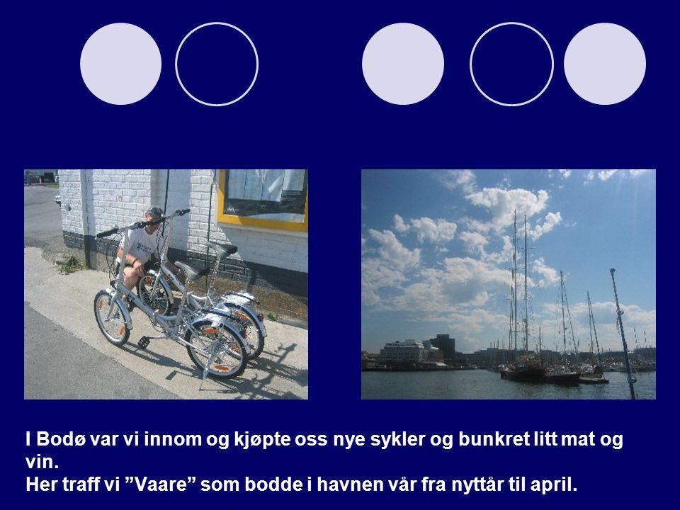 """I Bodø var vi innom og kjøpte oss nye sykler og bunkret litt mat og vin. Her traff vi """"Vaare"""" som bodde i havnen vår fra nyttår til april."""