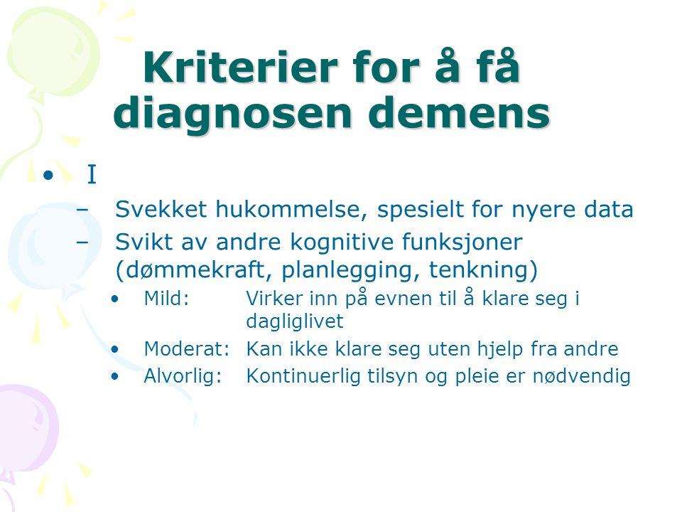 Kriterier for å få diagnosen demens I –Svekket hukommelse, spesielt for nyere data –Svikt av andre kognitive funksjoner (dømmekraft, planlegging, tenk