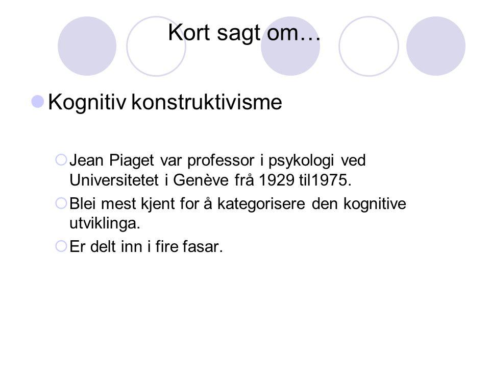 Kort sagt om… Kognitiv konstruktivisme  Jean Piaget var professor i psykologi ved Universitetet i Genève frå 1929 til1975.  Blei mest kjent for å ka