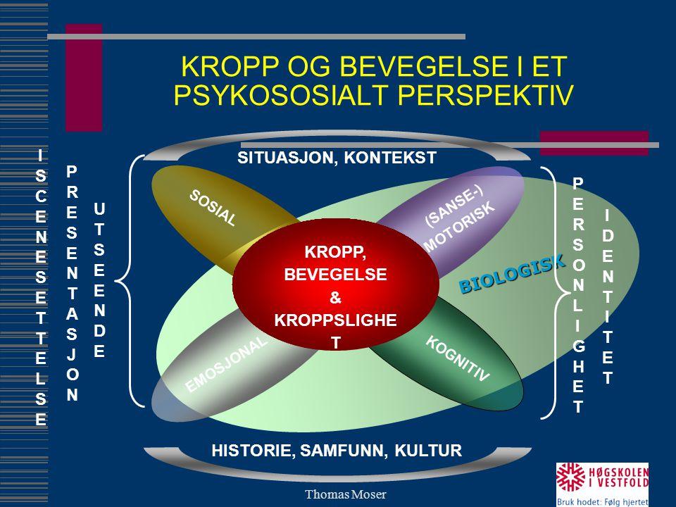 Thomas Moser BIOLOGISK KROPP OG BEVEGELSE I ET PSYKOSOSIALT PERSPEKTIV EMOSJONAL SOSIAL (SANSE-) MOTORISK KOGNITIV KROPP, BEVEGELSE & KROPPSLIGHE T SI