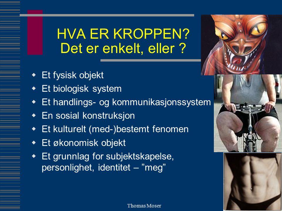Thomas Moser BIOLOGISK KROPP OG BEVEGELSE I ET PSYKOSOSIALT PERSPEKTIV EMOSJONAL SOSIAL (SANSE-) MOTORISK KOGNITIV KROPP, BEVEGELSE & KROPPSLIGHE T SITUASJON, KONTEKST HISTORIE, SAMFUNN, KULTUR PERSONLIGHETPERSONLIGHET IDENTITETIDENTITET UTSEENDEUTSEENDE ISCENESETTELSEISCENESETTELSE PRESENTASJONPRESENTASJON
