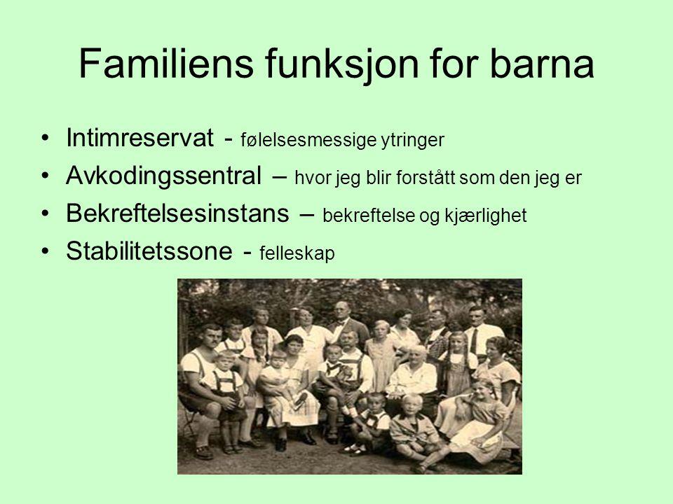 Familiens funksjon for barna Intimreservat - følelsesmessige ytringer Avkodingssentral – hvor jeg blir forstått som den jeg er Bekreftelsesinstans – b