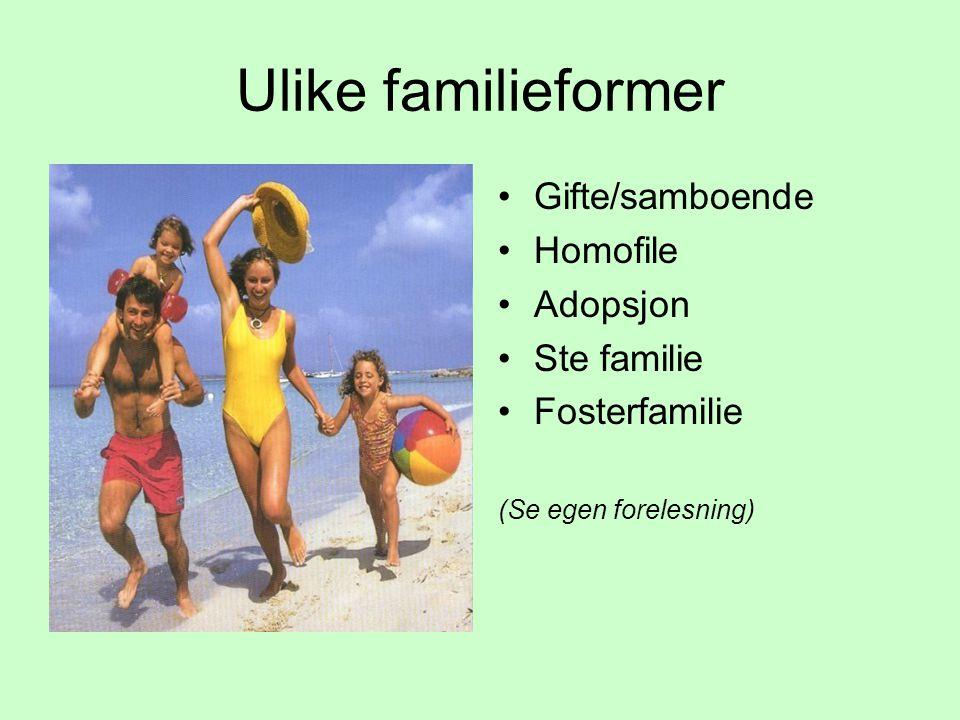 Ulike familieformer Gifte/samboende Homofile Adopsjon Ste familie Fosterfamilie (Se egen forelesning)