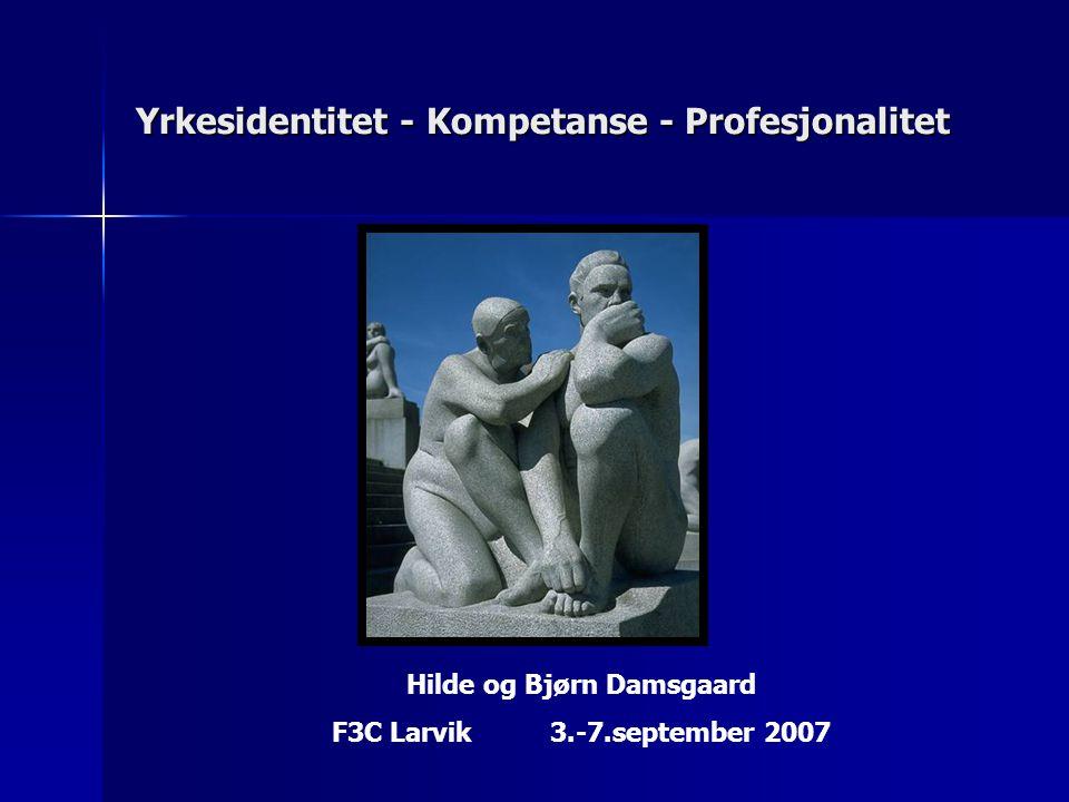Yrkesidentitet - Kompetanse - Profesjonalitet Hilde og Bjørn Damsgaard F3C Larvik 3.-7.september 2007