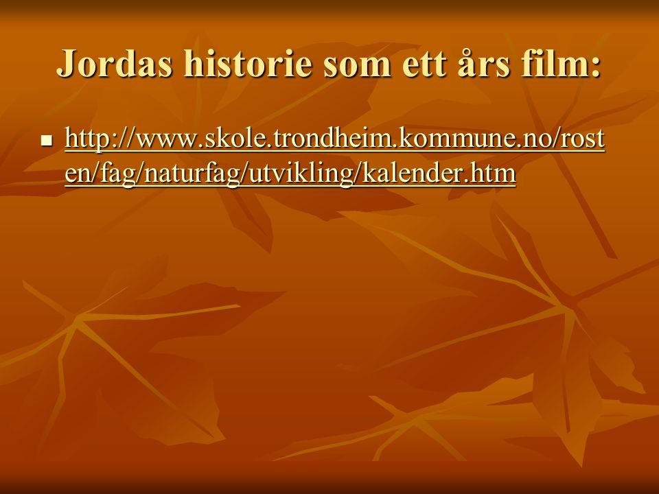 Jordas historie som ett års film: http://www.skole.trondheim.kommune.no/rost en/fag/naturfag/utvikling/kalender.htm http://www.skole.trondheim.kommune