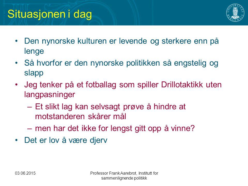 03.06.2015Professor Frank Aarebrot, Institutt for sammenlignende politikk Situasjonen i dag Den nynorske kulturen er levende og sterkere enn på lenge