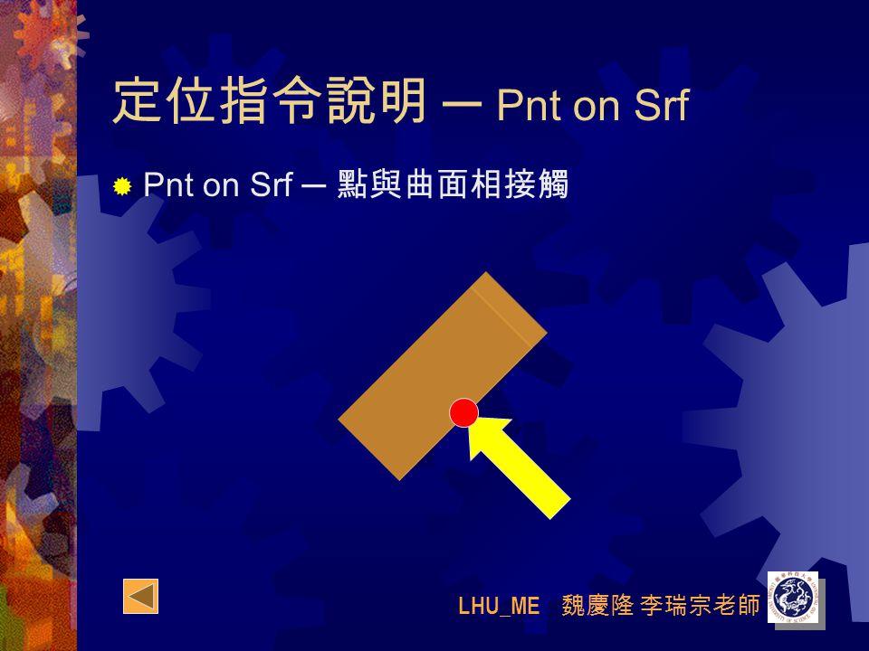 LHU_ME 魏慶隆 李瑞宗老師 定位指令說明 ─ Pnt on Srf  Pnt on Srf ─ 點與曲面相接觸