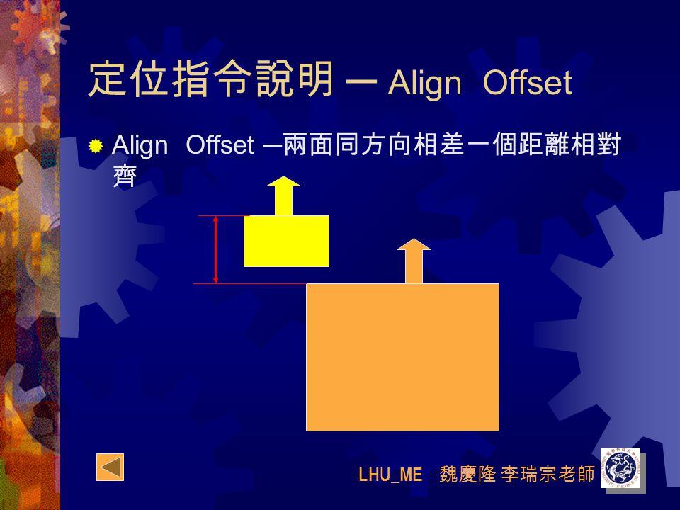 LHU_ME 魏慶隆 李瑞宗老師 定位指令說明 ─ Align Offset  Align Offset ─ 兩面同方向相差一個距離相對 齊