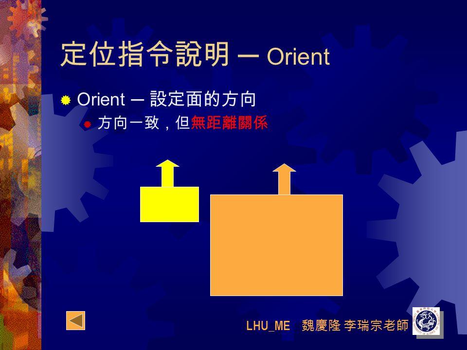 LHU_ME 魏慶隆 李瑞宗老師 定位指令說明 ─ Orient  Orient ─ 設定面的方向  方向一致,但無距離關係