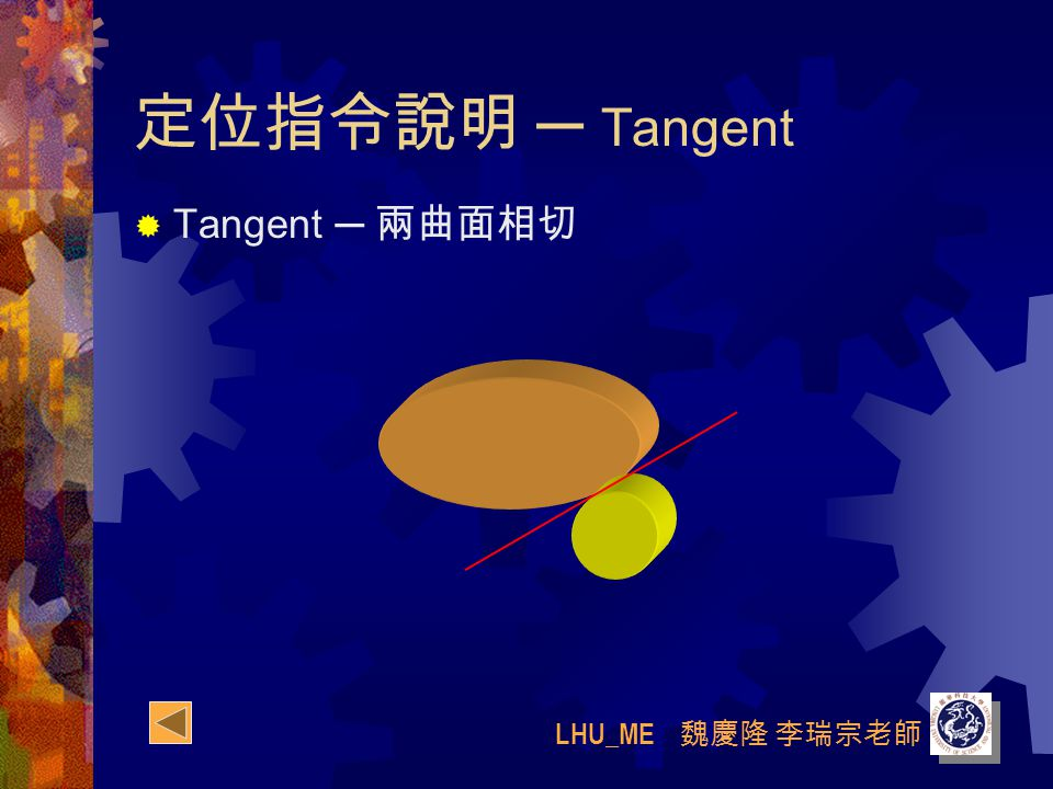 LHU_ME 魏慶隆 李瑞宗老師 定位指令說明 ─ Tangent  Tangent ─ 兩曲面相切