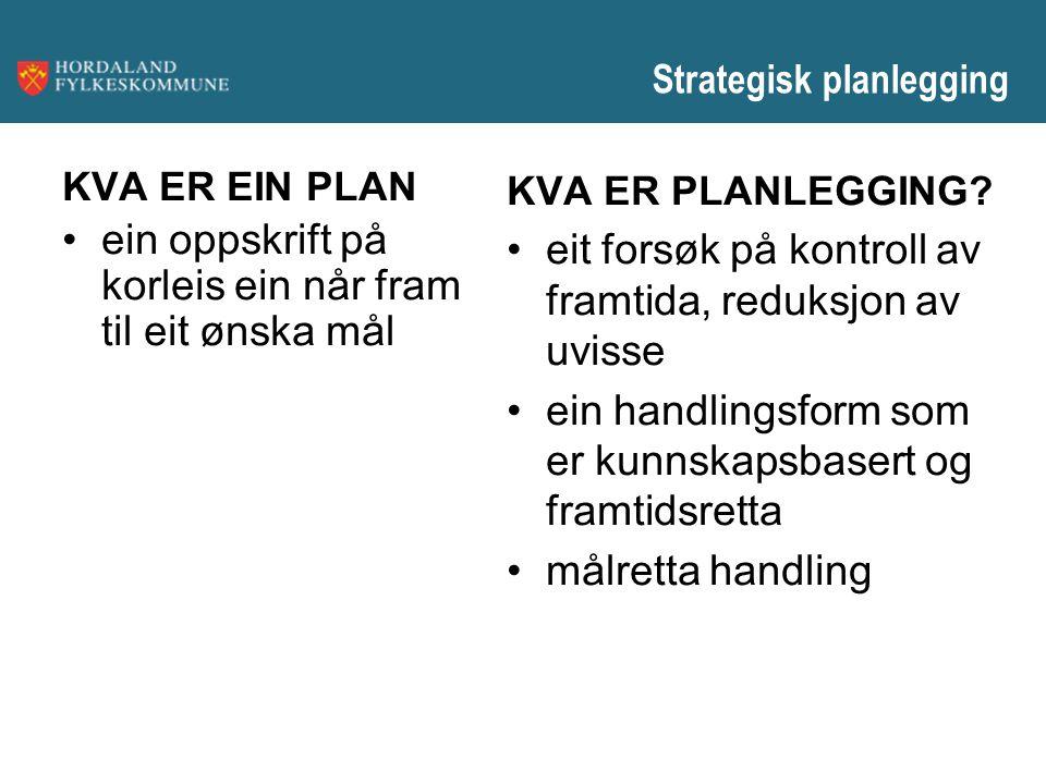 Strategisk planlegging KVA ER EIN PLAN ein oppskrift på korleis ein når fram til eit ønska mål KVA ER PLANLEGGING? eit forsøk på kontroll av framtida,