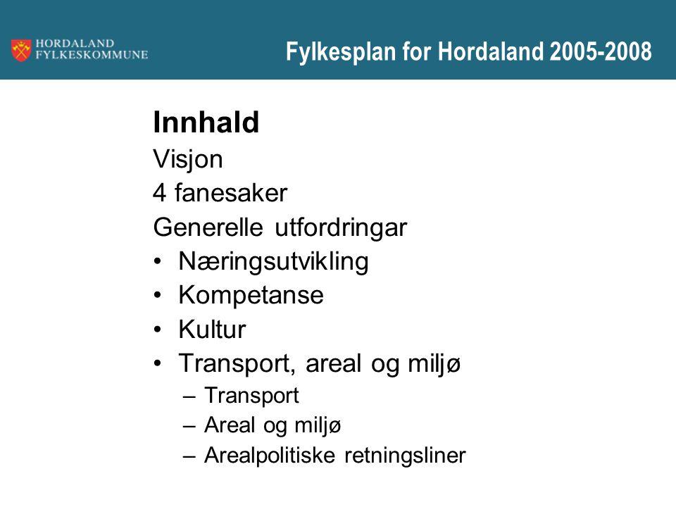 Fylkesplan for Hordaland 2005-2008 Innhald Visjon 4 fanesaker Generelle utfordringar Næringsutvikling Kompetanse Kultur Transport, areal og miljø –Tra