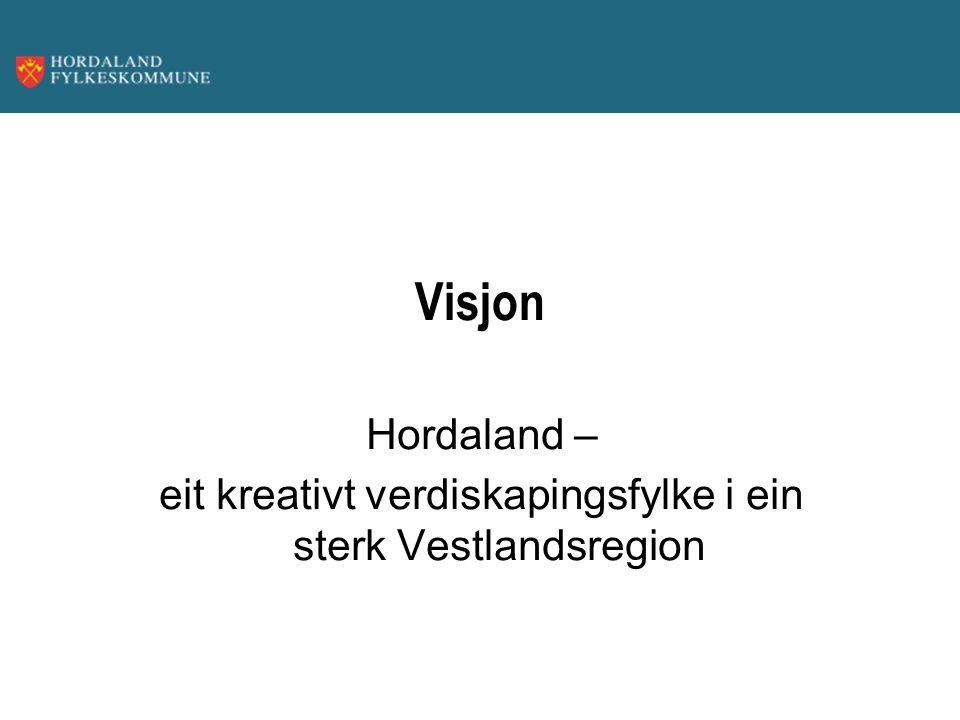 Visjon Hordaland – eit kreativt verdiskapingsfylke i ein sterk Vestlandsregion