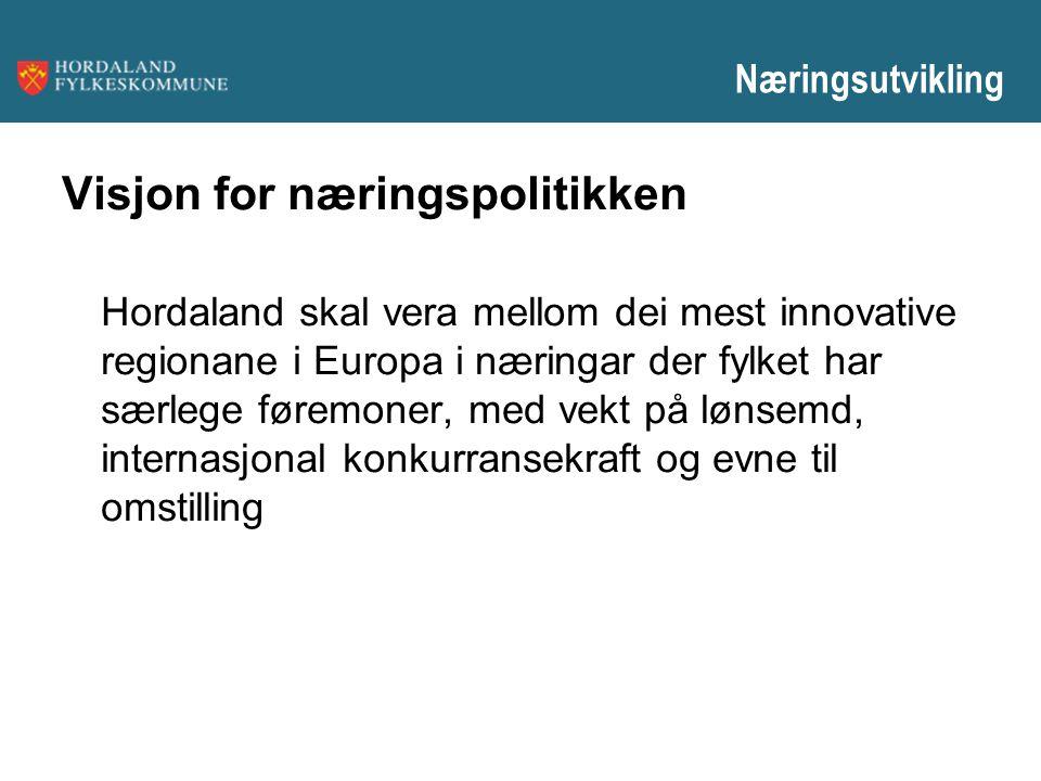 Visjon for næringspolitikken Hordaland skal vera mellom dei mest innovative regionane i Europa i næringar der fylket har særlege føremoner, med vekt p