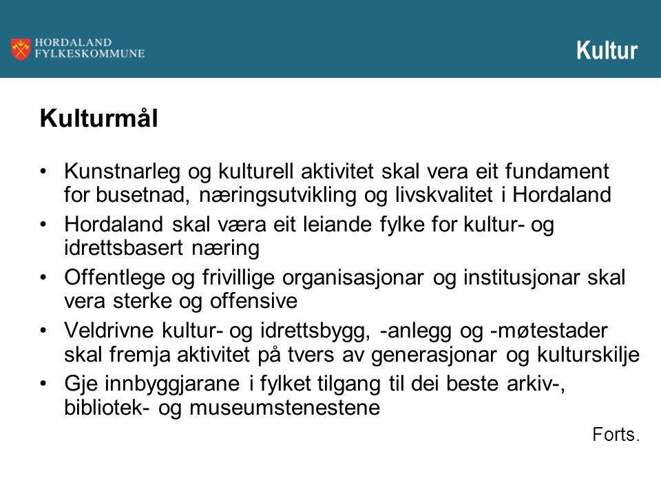 Kultur Kulturmål Kunstnarleg og kulturell aktivitet skal vera eit fundament for busetnad, næringsutvikling og livskvalitet i Hordaland Hordaland skal
