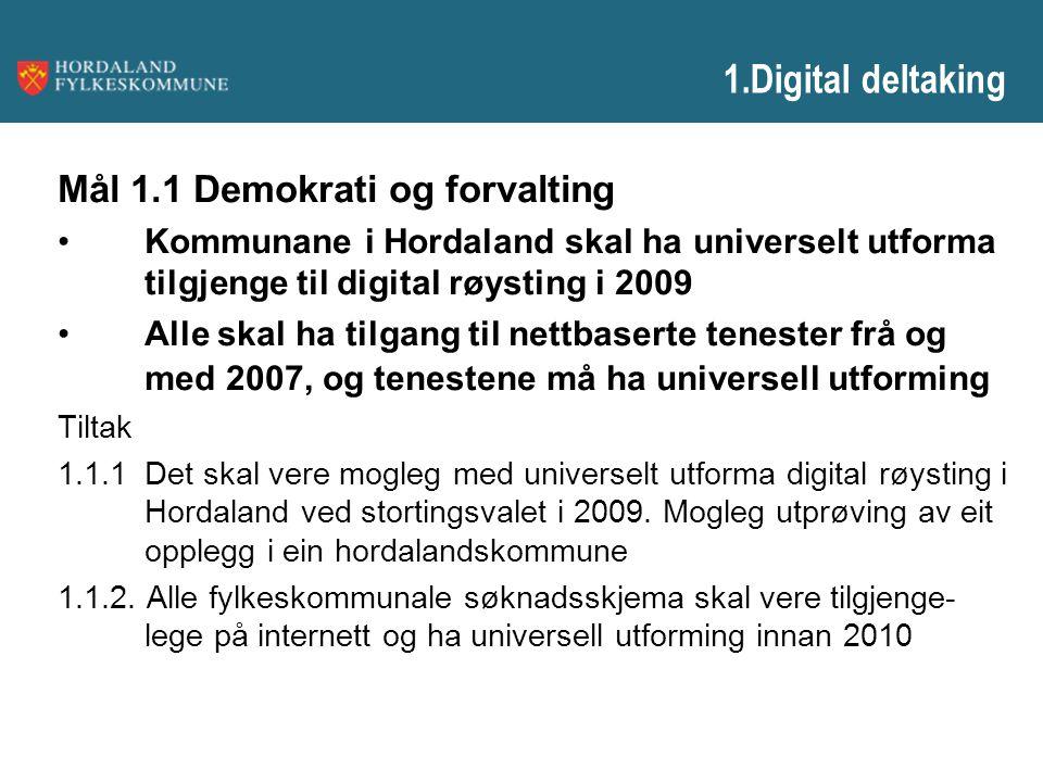 1.Digital deltaking Mål 1.1 Demokrati og forvalting Kommunane i Hordaland skal ha universelt utforma tilgjenge til digital røysting i 2009 Alle skal h