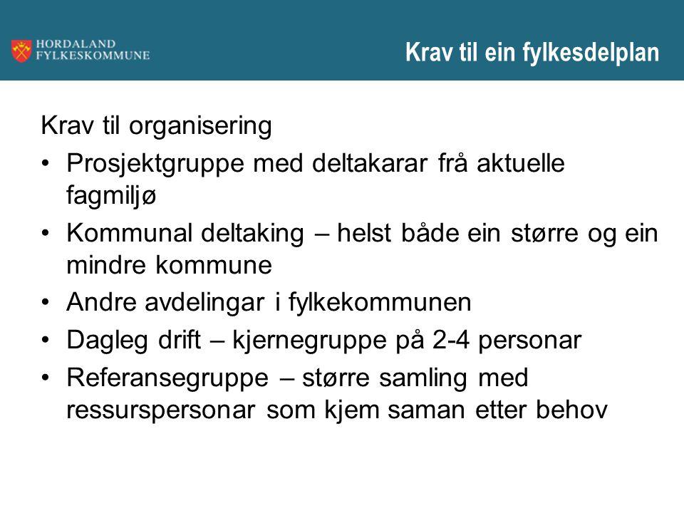 Krav til ein fylkesdelplan Krav til organisering Prosjektgruppe med deltakarar frå aktuelle fagmiljø Kommunal deltaking – helst både ein større og ein