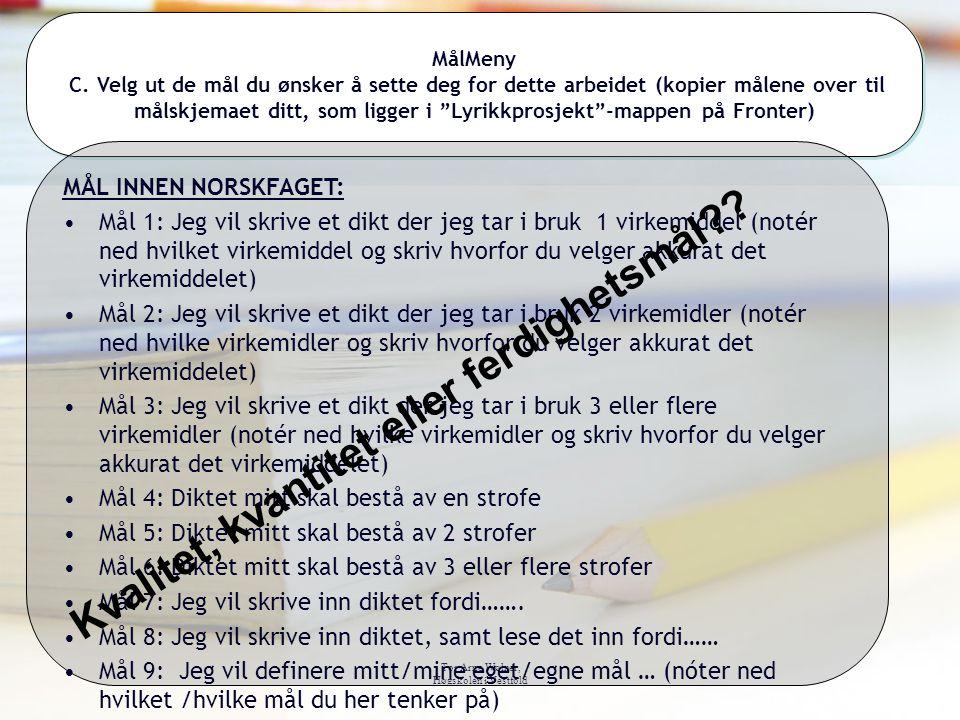 Tor Arne Wølner, Høgskolen i Vestfold MålMeny C. Velg ut de mål du ønsker å sette deg for dette arbeidet (kopier målene over til målskjemaet ditt, som