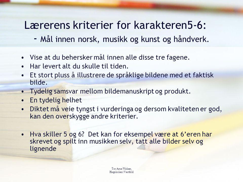 Tor Arne Wølner, Høgskolen i Vestfold Lærerens kriterier for karakteren5-6: - Mål innen norsk, musikk og kunst og håndverk. Vise at du behersker mål i
