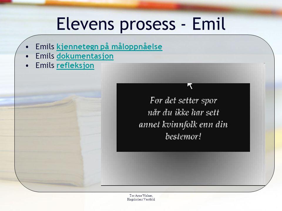 Tor Arne Wølner, Høgskolen i Vestfold Elevens prosess - Emil Emils kjennetegn på måloppnåelsekjennetegn på måloppnåelse Emils dokumentasjondokumentasj