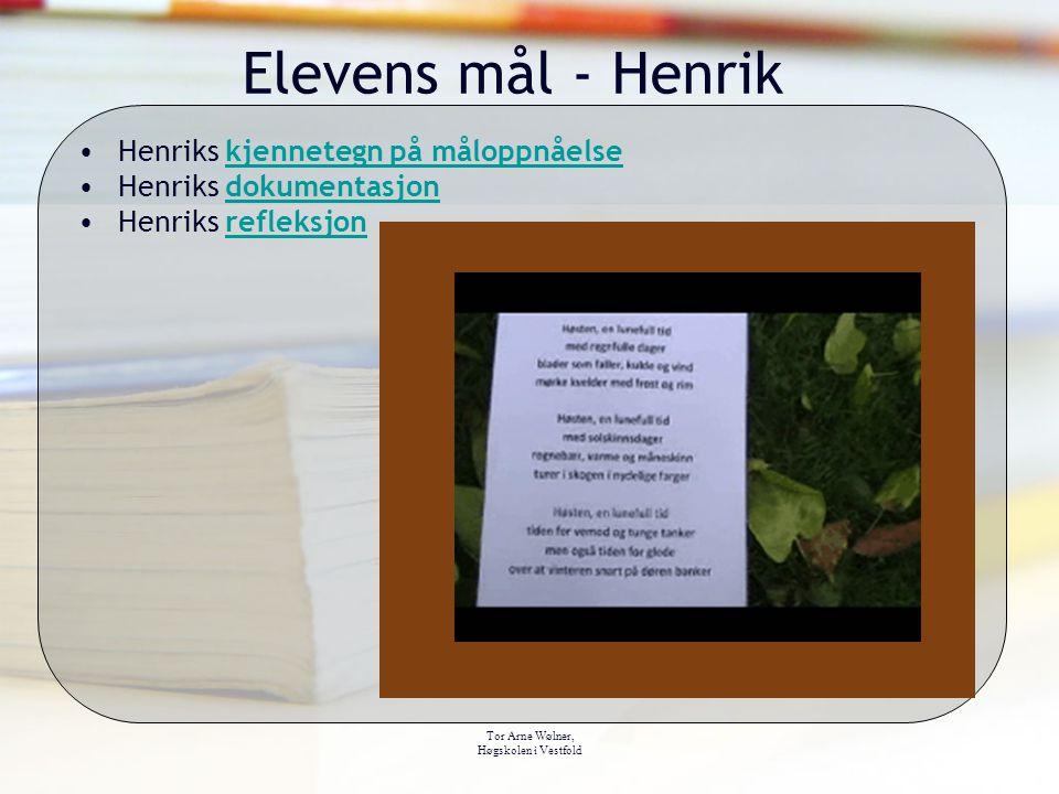 Tor Arne Wølner, Høgskolen i Vestfold Elevens mål - Henrik Henriks kjennetegn på måloppnåelsekjennetegn på måloppnåelse Henriks dokumentasjondokumentasjon Henriks refleksjonrefleksjon