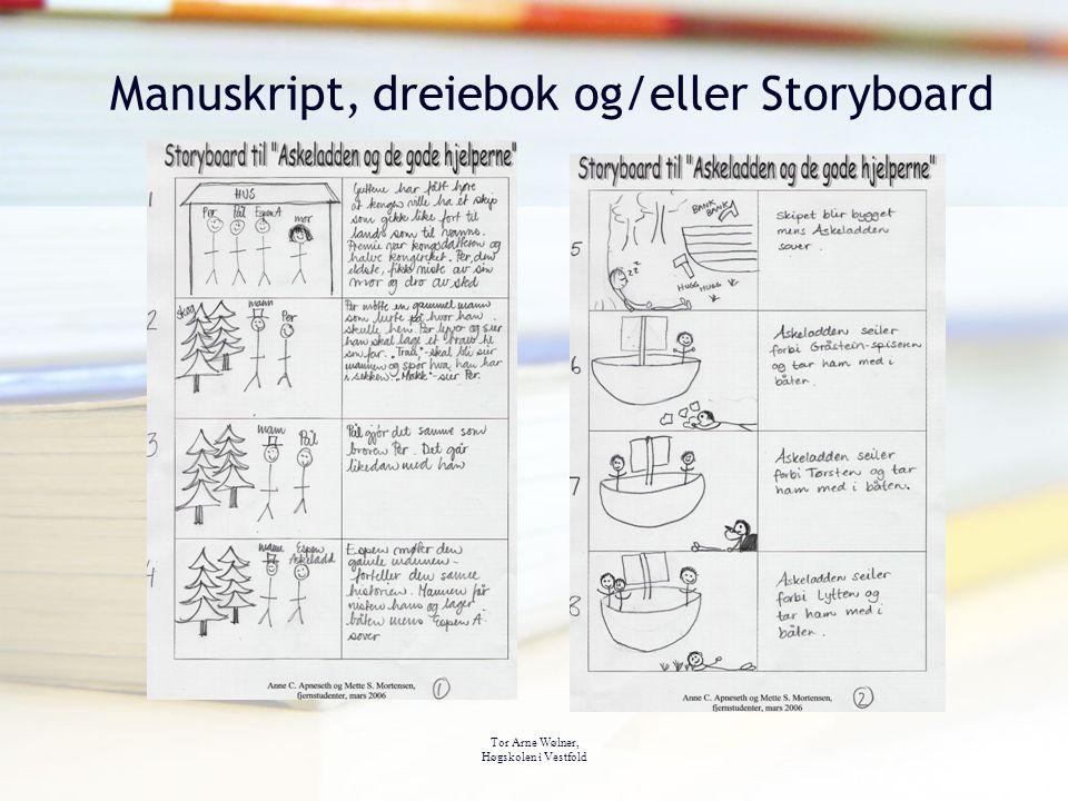 Tor Arne Wølner, Høgskolen i Vestfold Manuskript, dreiebok og/eller Storyboard