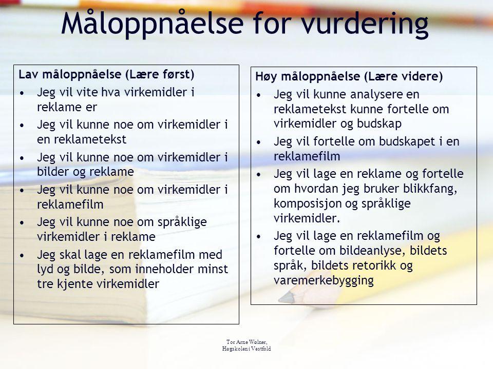 Tor Arne Wølner, Høgskolen i Vestfold Måloppnåelse for vurdering Høy måloppnåelse (Lære videre) Jeg vil kunne analysere en reklametekst kunne fortelle