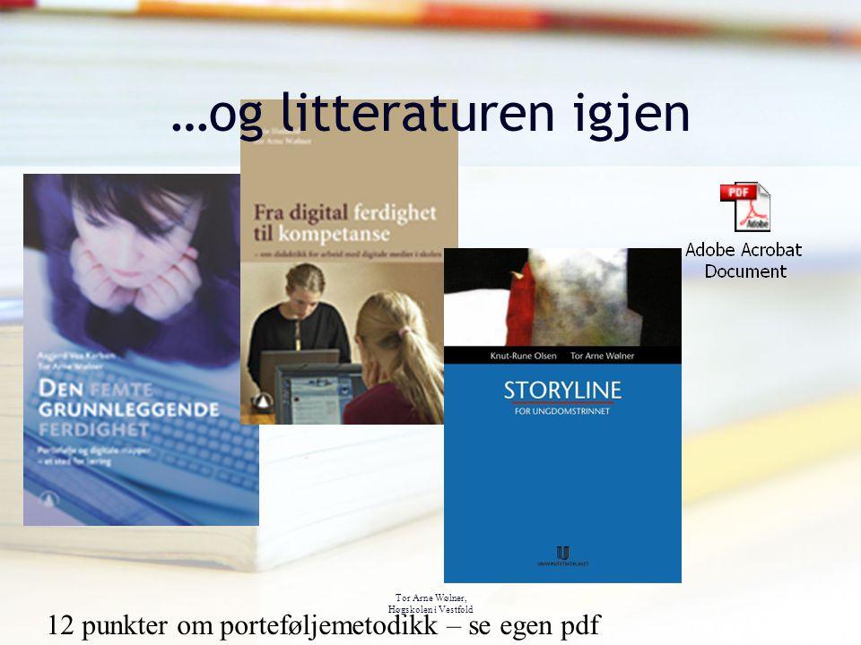 Tor Arne Wølner, Høgskolen i Vestfold …og litteraturen igjen 12 punkter om porteføljemetodikk – se egen pdf