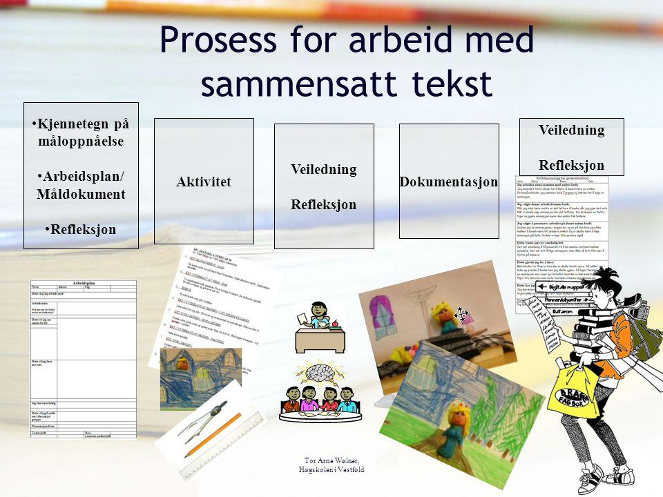 Tor Arne Wølner, Høgskolen i Vestfold Prosess for arbeid med sammensatt tekst Kjennetegn på måloppnåelse Arbeidsplan/ Måldokument Refleksjon Aktivitet
