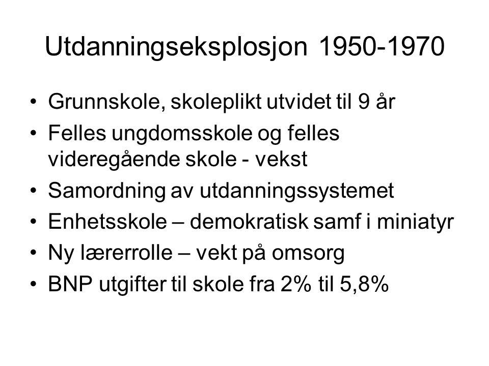 Utdanningseksplosjon 1950-1970 Grunnskole, skoleplikt utvidet til 9 år Felles ungdomsskole og felles videregående skole - vekst Samordning av utdannin