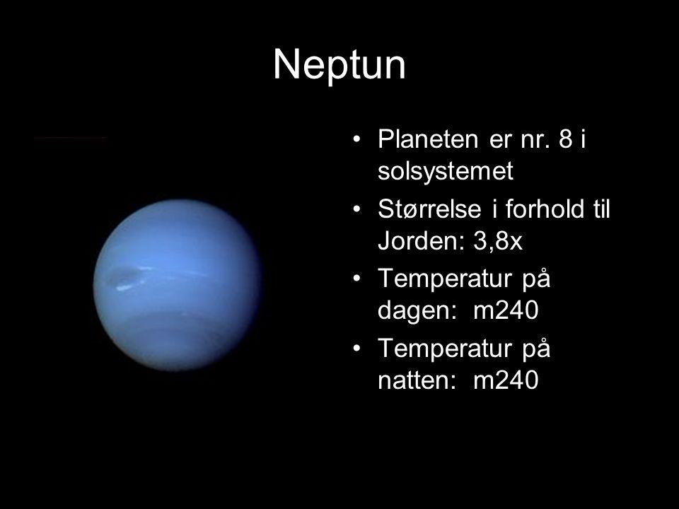 Uranus Antall måner: 17 Årets lenge: 84 Døgnets lengde: 16 timer Hva slags materiale er planeten bygget opp av: stein og is og gas
