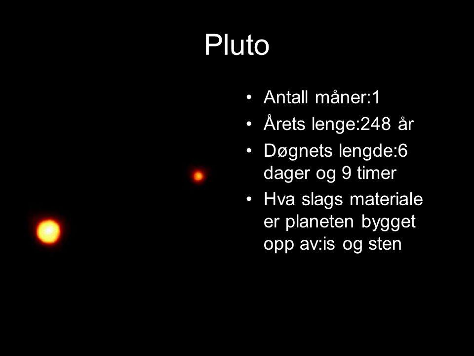 Pluto Planeten er nr. 9 i solsystemet Størrelse i forhold til Jorden:0,18x Gjennomsnittstemper atur: -240