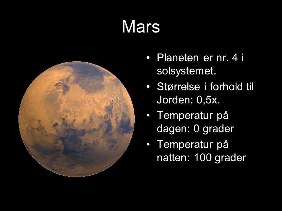 Jorda Antall måner: 1 Årets lenge: 365 dager og 6 timer Dønets lengde: 23 timer og 56 minutter Hva slags materiale er planeten bygget opp av:vann stei