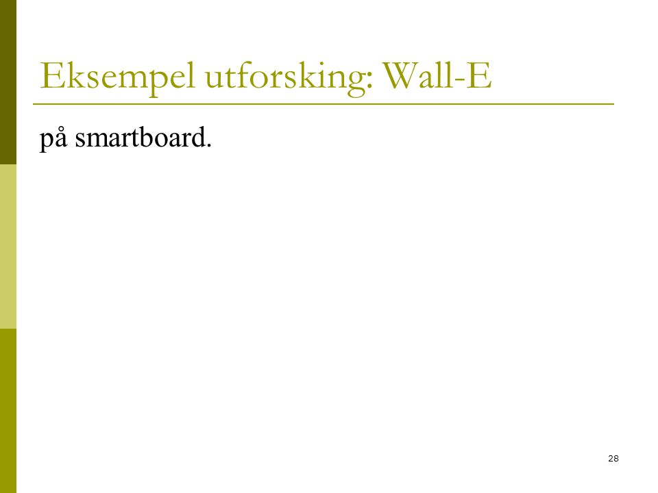 28 Eksempel utforsking: Wall-E på smartboard.